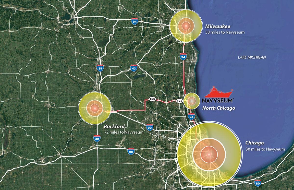 "Port NAVYSEUM at Great Lakes Coordinates 42 ° 19'08.80"" N 87 ° 50""37.81"" W"