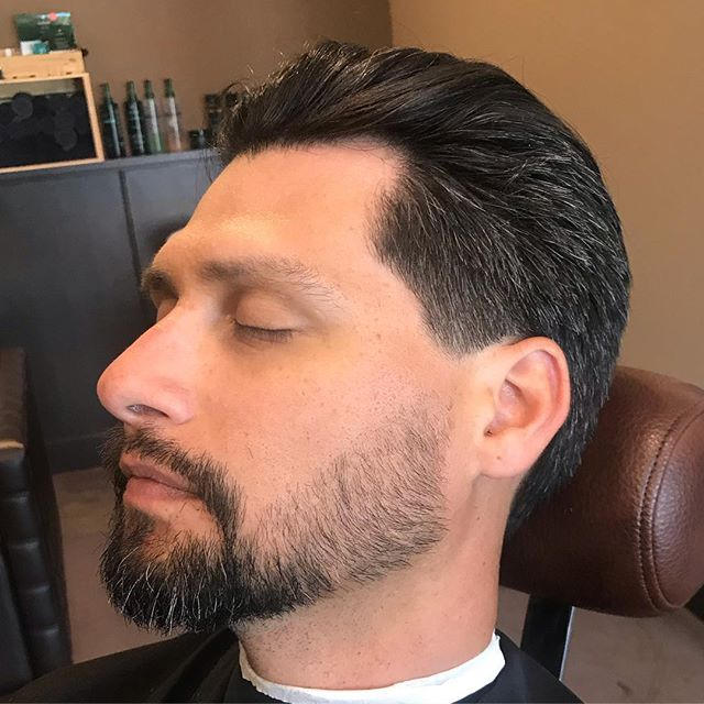 Gentleman's cut w/ beard trim and straight razor line-up @harrisons4429.  Book now and let Jason @rltwbarbering take care of your summer look!