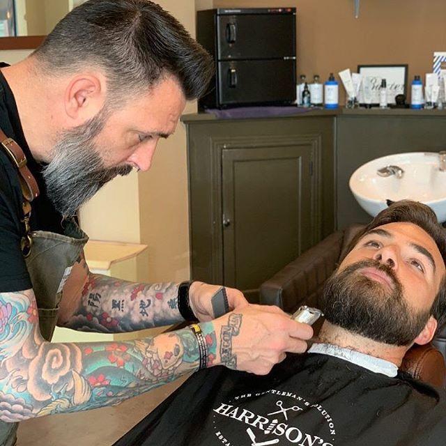 Beard trims, line ups and grooming knowledge at Harrison's Barbershop with Associate Barber, Jason @rltwbarbering