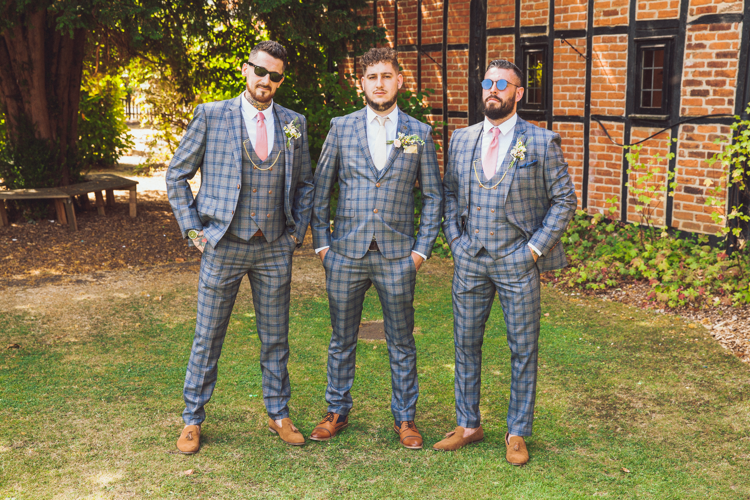 The boys looking slick in Mark Darcie suits at the barns hotel wedding, Bedfordshire wedding photographer Richard Puncheon Capturing the moment.