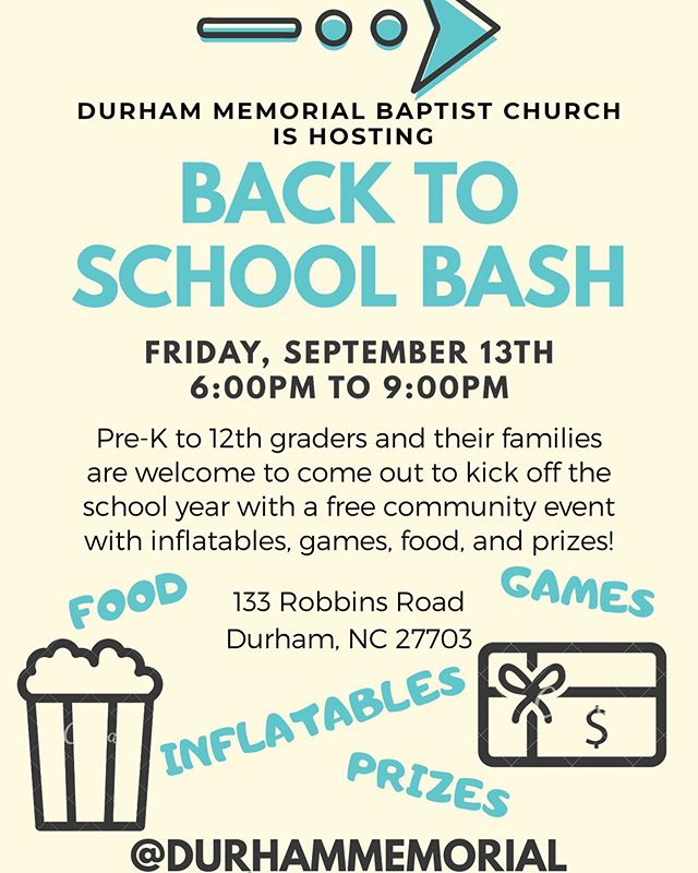 Y'all we are only 5 days away from Back to School Bash! Come hang out with us for a night of games, inflatables, food, and prizes. All kids pre-K to high school are invited to come with their families. Please invite any friends that would want to come as well! #dmbcamplifiedstudents #durhamnc #wearenealmiddle #fallslakeacademy #southerndurham #springvalleyelementary #oakgroveelementary #freeevent #backtoschool