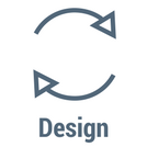 The word Design with icon of arrows arranged in a continuous circle