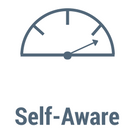 The word Self-Aware with an icon of a measurement gauge
