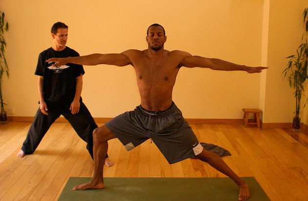 NBA players like Andre Iguodala (pictured), Dirk Nowitzki, Lebron James, Kevin Love and many others have all reported benefits of adding in yoga to their routine.