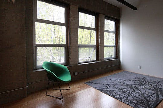 The rug in the bedroom area emulates the shadows that the trees outside of the windows create on the floor. The window treatments were chosen in a dark shade of grey to match the concrete walls and disappear visually whether up or down.