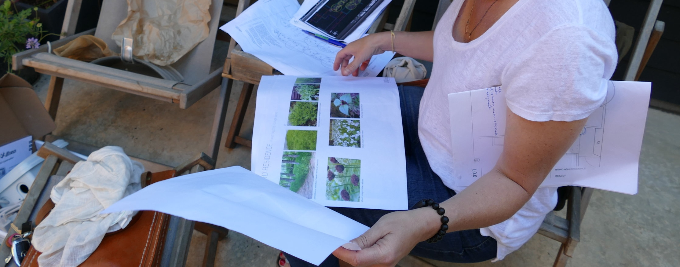 2017: Landscaping meeting V4.0. Once the layout had been settled upon, the landscape designers collaborated with Shannon to select a texture +tonal palette she found soothing.