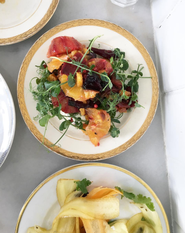 We could say this dish was too pretty to eat but that would be a lie. We may or may not have licked the plate. Salad of beets, sweet pea greens and winter citrus atop a feta cream.