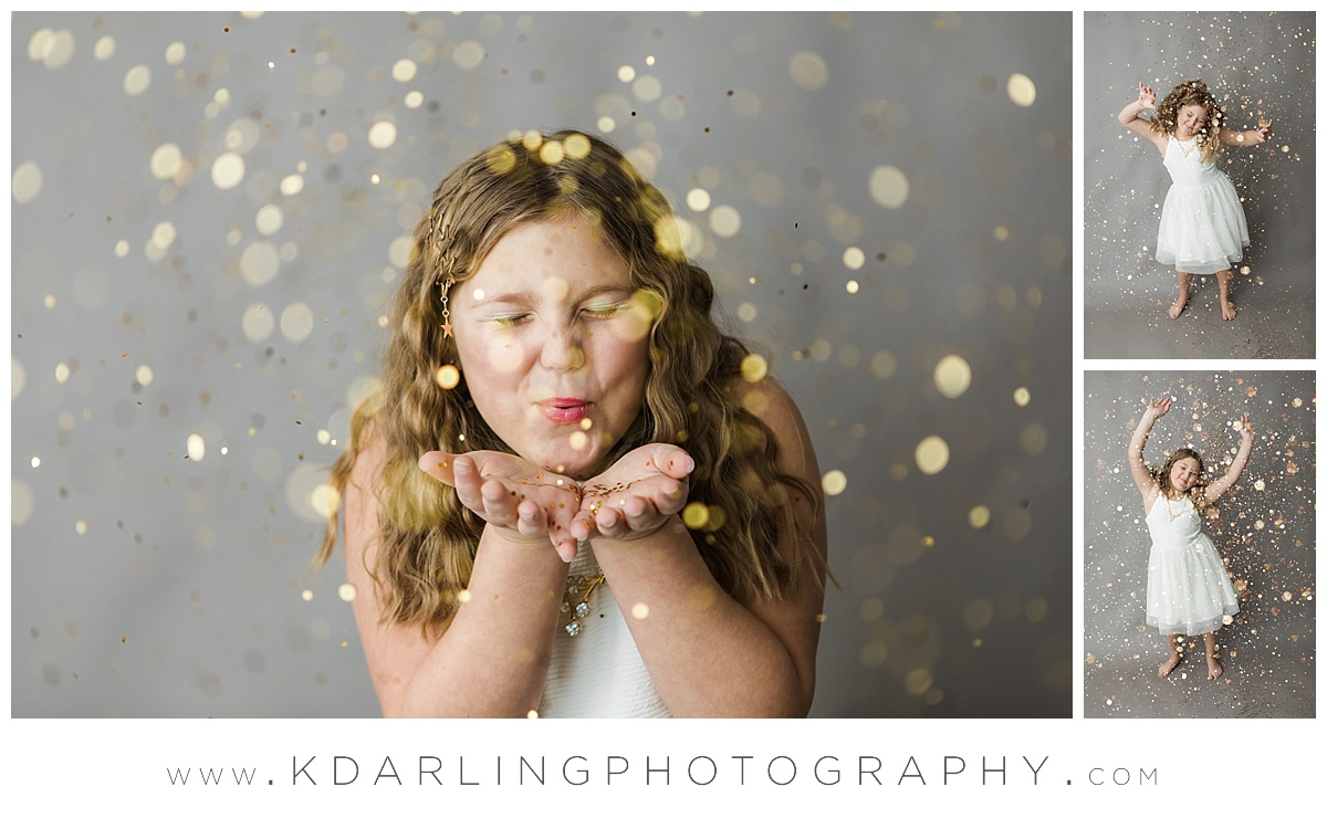 Ten year old girl dancing in glitter