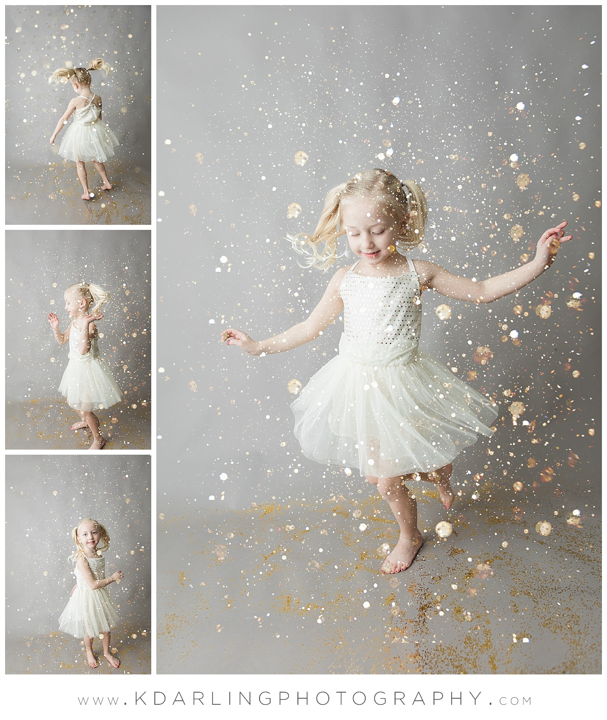 Four year old girl throwing gold glitter