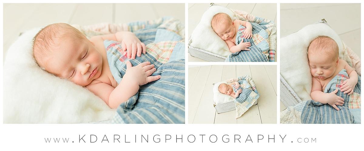 Newborn baby boy in blue