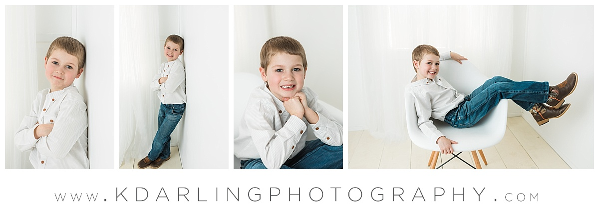 Six year old boy in white chair
