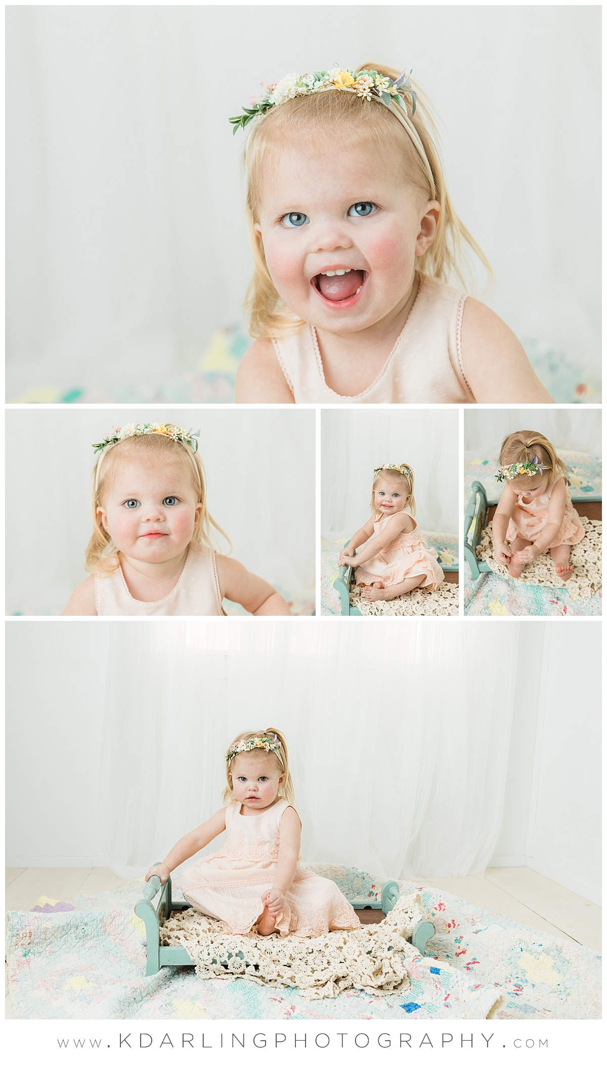 Two year old girl on blue bed