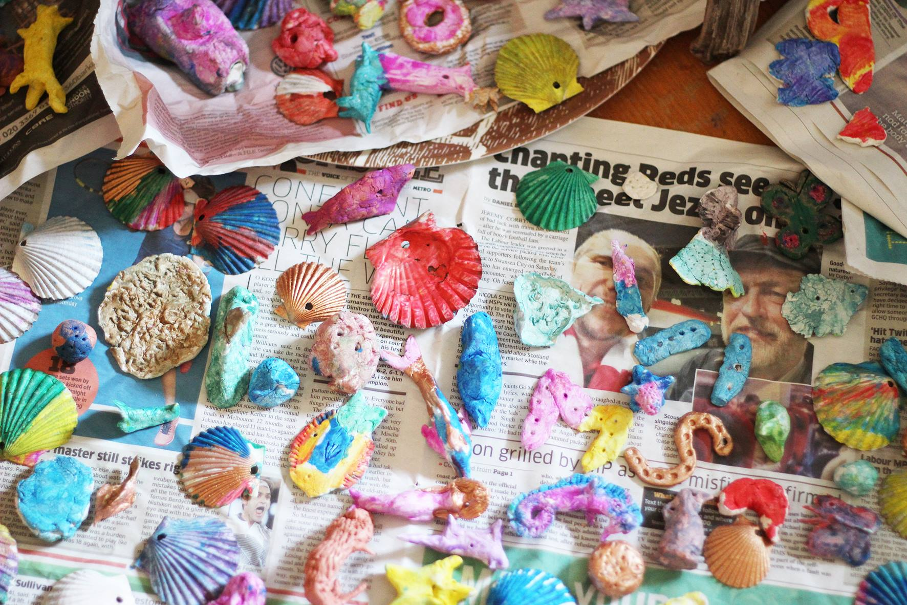 Painted shells & clay creatures