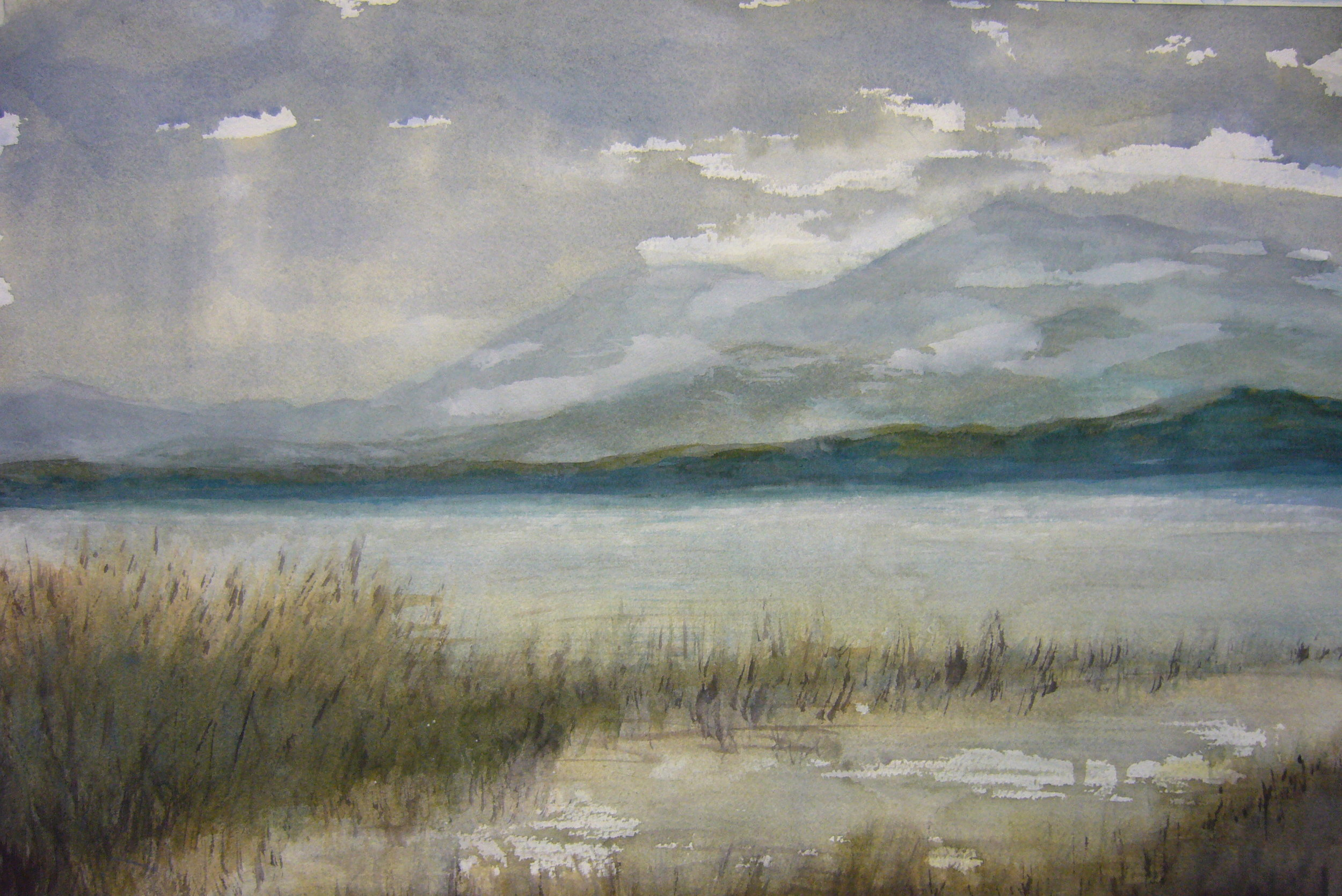 Mt. Diablo from Benicia   Watercolor  15 x 22  2013  Private Collection