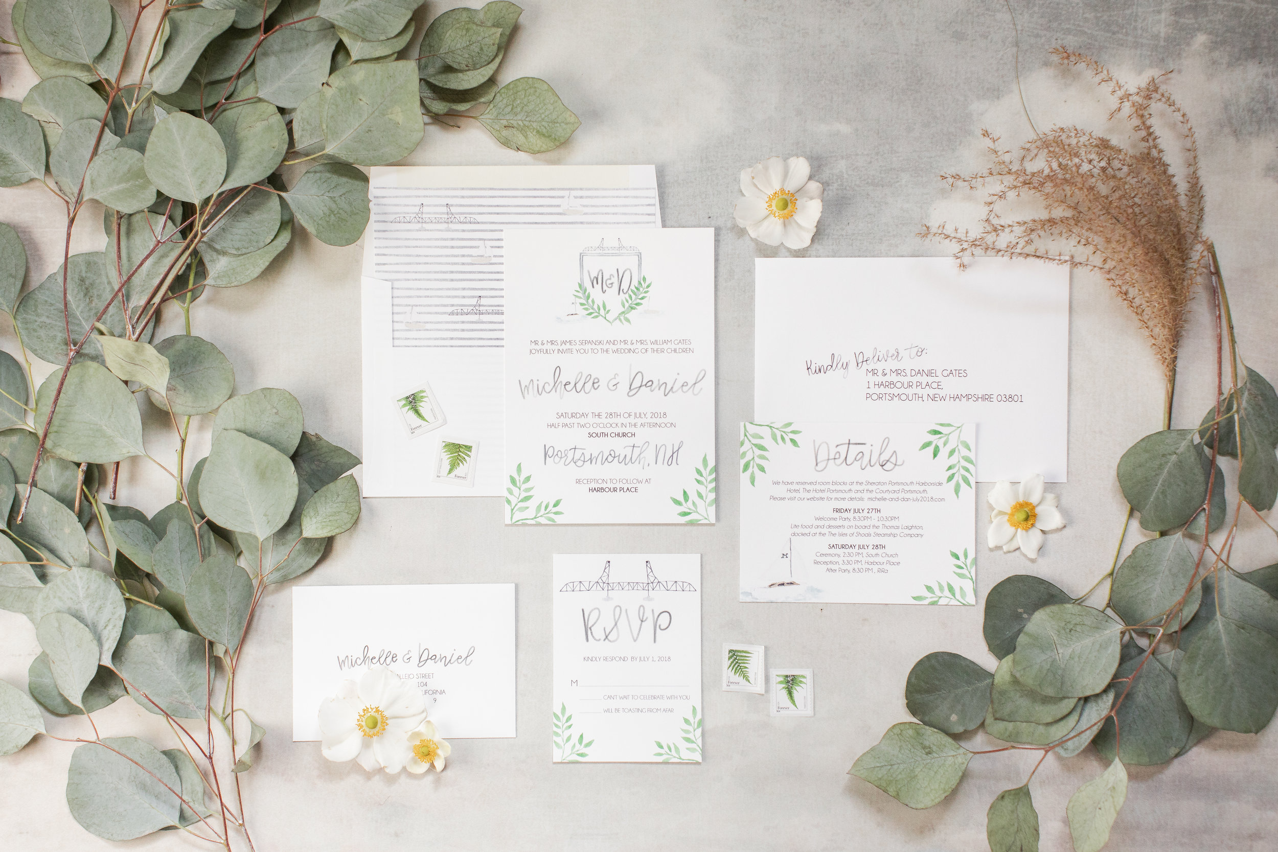 Watercolor wedding invitation for a New Hampshire wedding