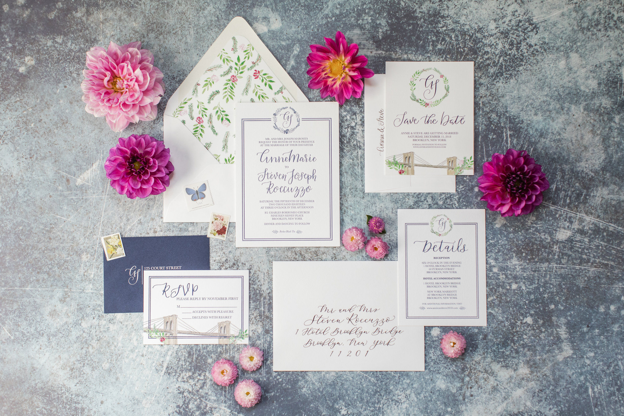 Elegant Letter Press Wedding Invitations with Watercolor Details