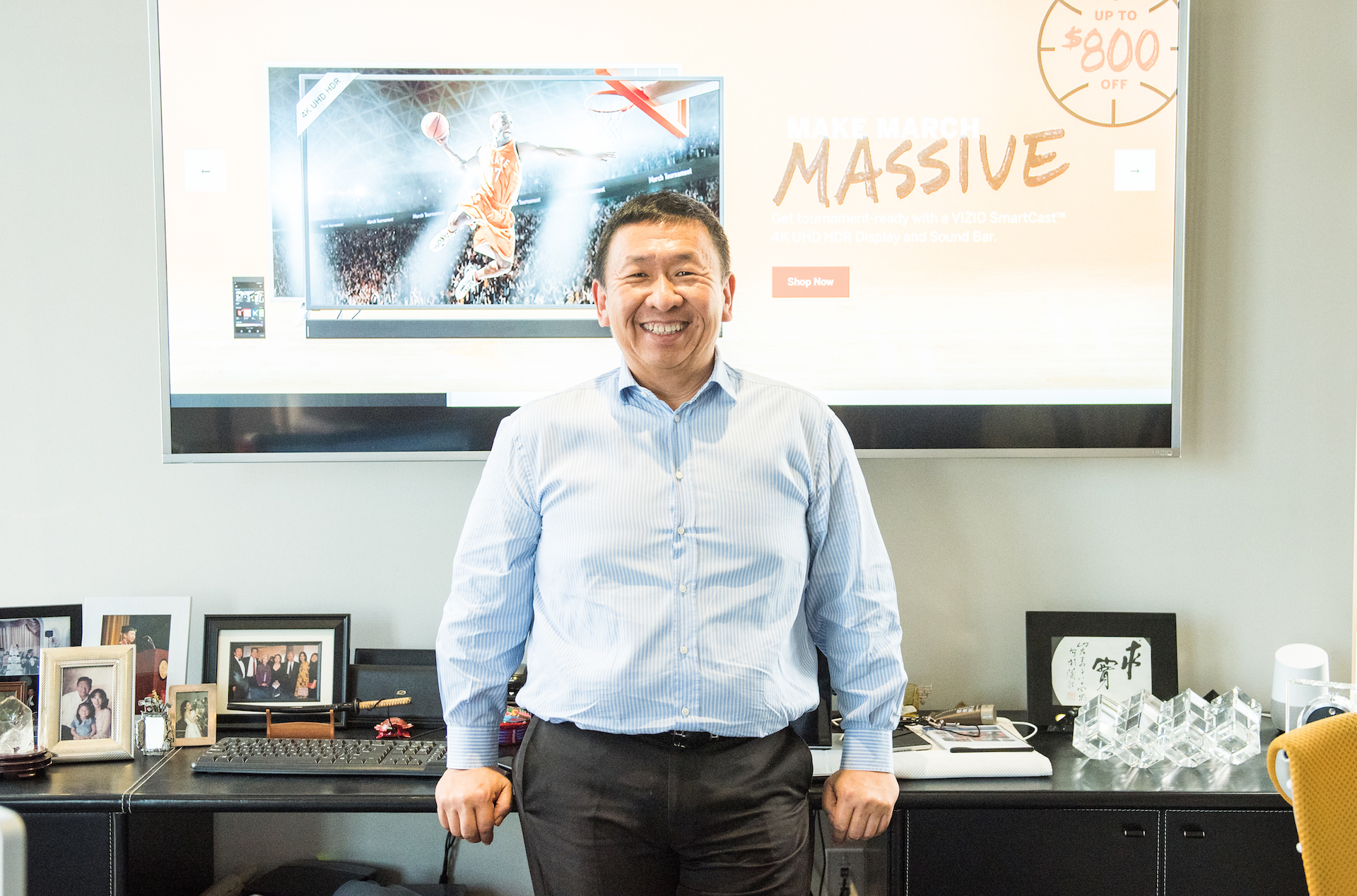 William Wang in his Irvine office at Vizio.