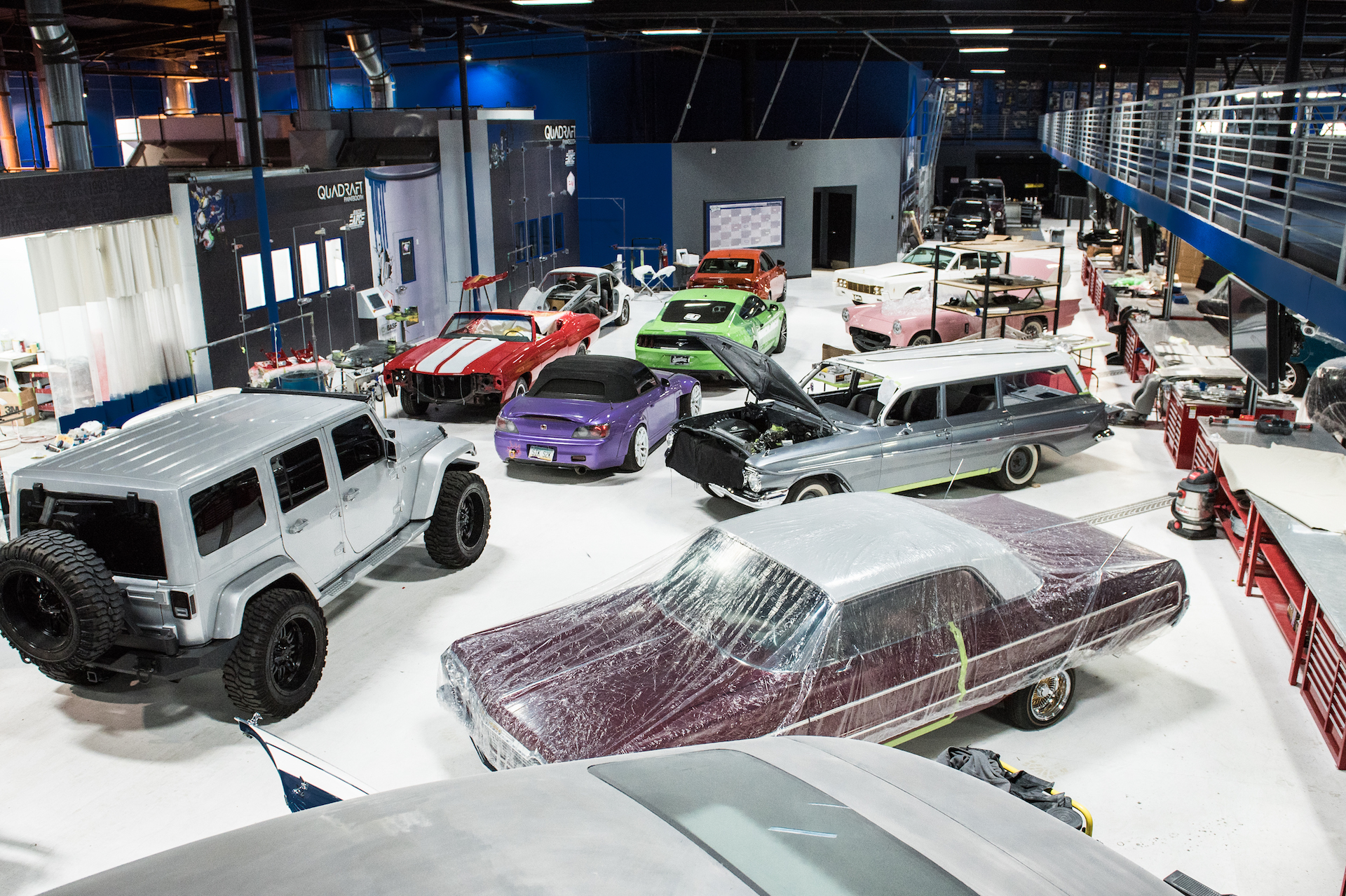 Inside the West Coast Customs garage.