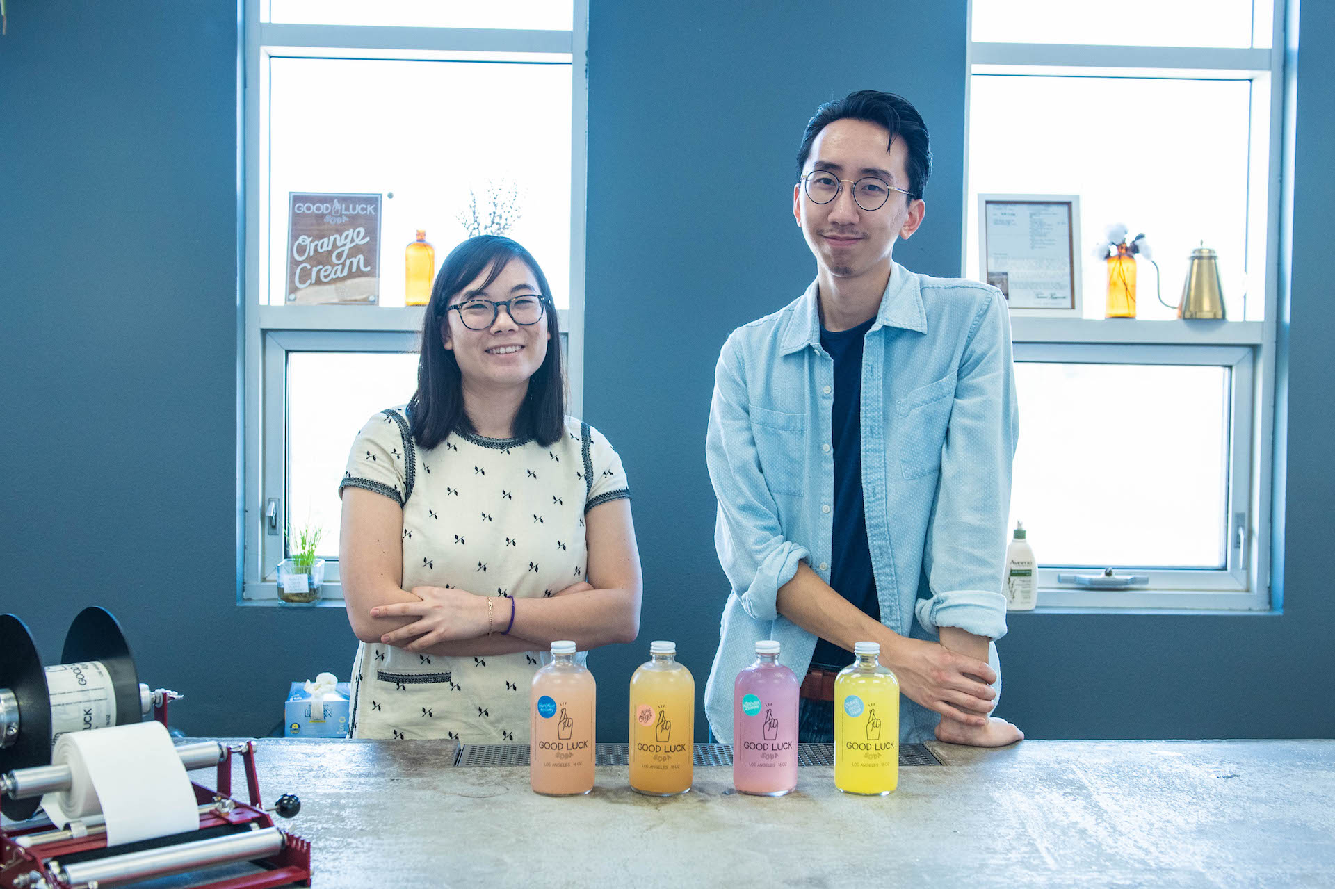 Annie Seo (left) and Chris Hahn (right) of Good Luck Soda.