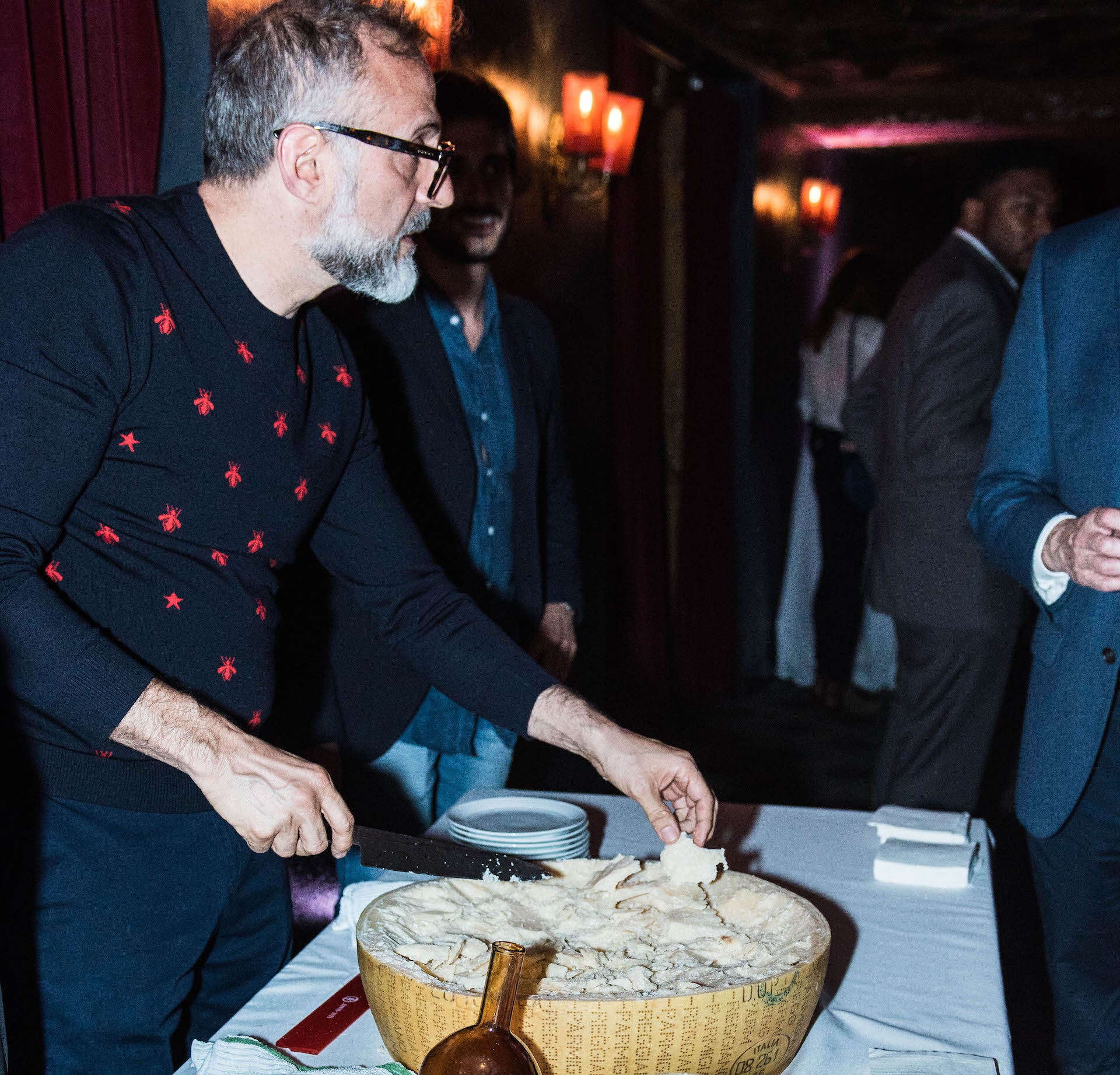 Massimo serving aged parmigiano reggiano at the Ace Hotel.