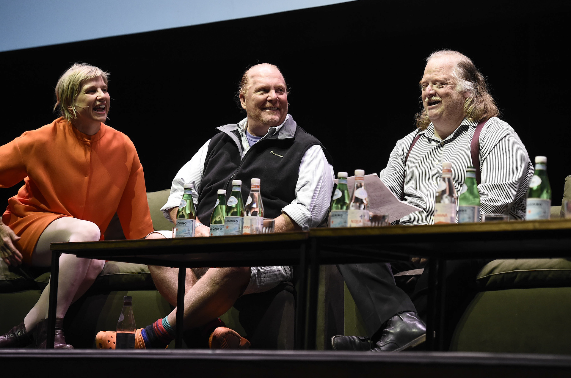 Chef Mary Sue Milliken (left) with Chef Mario Batali (middle) and LA Times critic Jonathan Gold (right) at the Food For Soul Panel. Photo courtesy of the LA Times and Dan Steinberg.