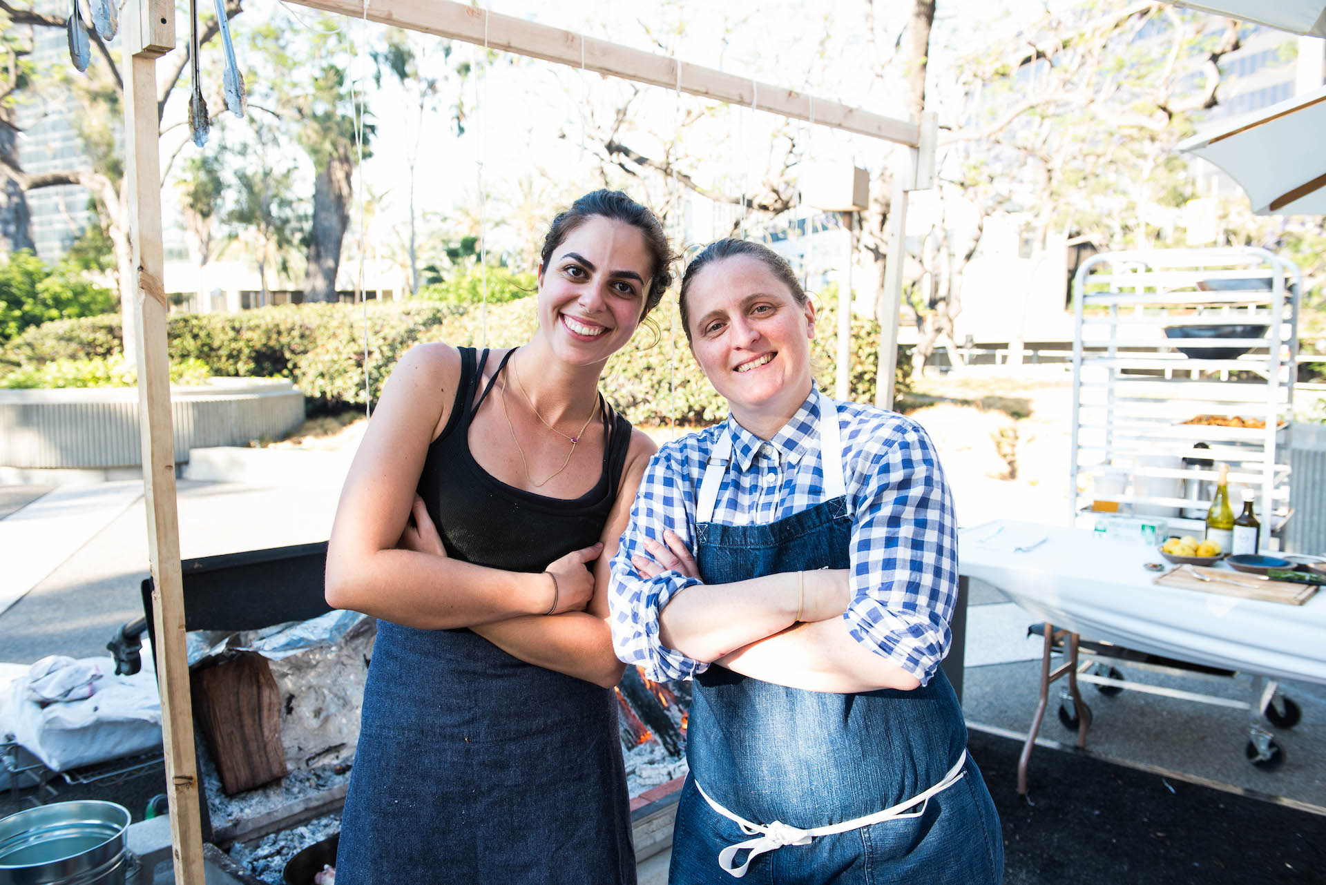 April Bloomfield (right), chef and owner of the Spotted Pig, the Breslin Bar and Dining Room, the John Dory Oyster Bar, Salvation Taco, and Tosca. On her left is Debbie Michail, local L.A.butcher and April's sous chef for Beast Feast.