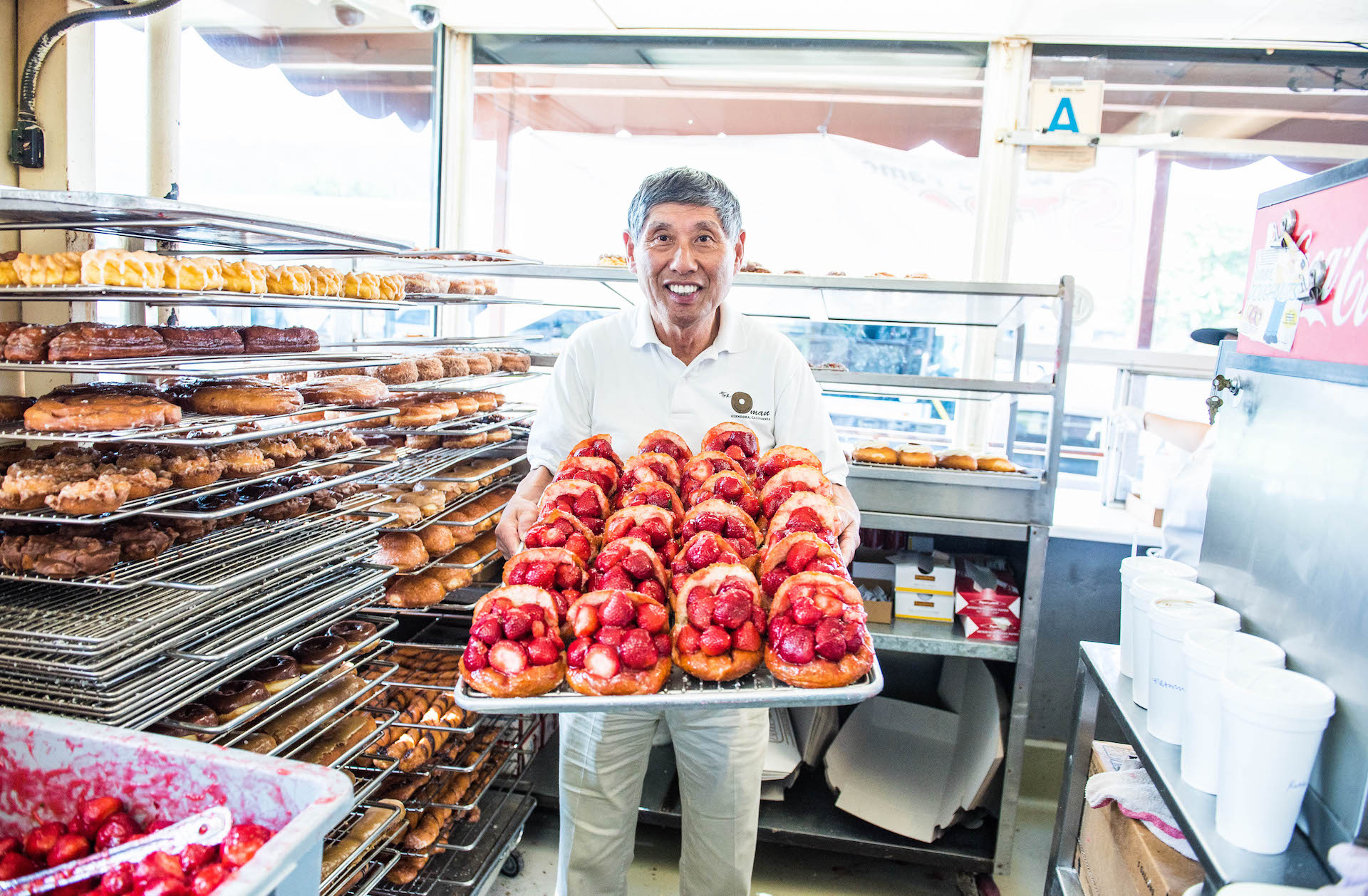 Jim Nakano, the Donut Man, and his famous strawberry donuts.