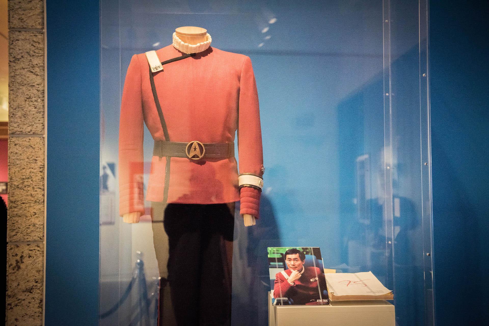 The exhibit includes  Star Trek memorabilia like Sulu's outfit.