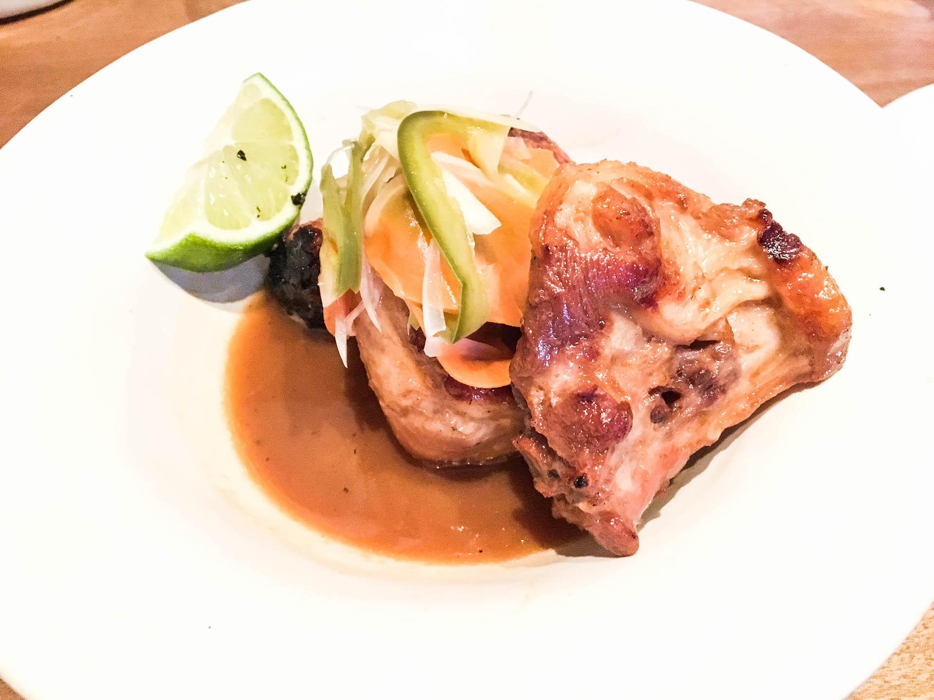 David Lee's favorite dish on the menu, the adobo turkey tail.