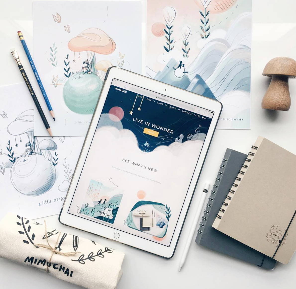 Mimi uses both paper and pencil and tablets to draw. Courtesy of Mimi Chao