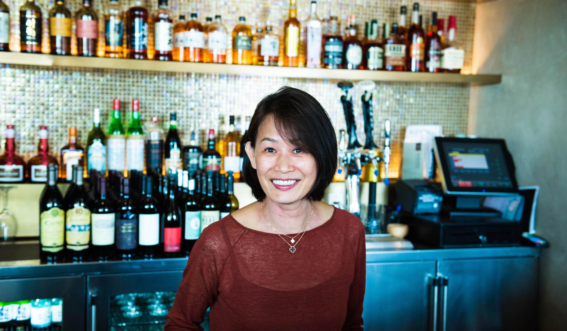 Gigi Cheung, the Vice President of Panda Restaurant Group, at the YakiYan bar.