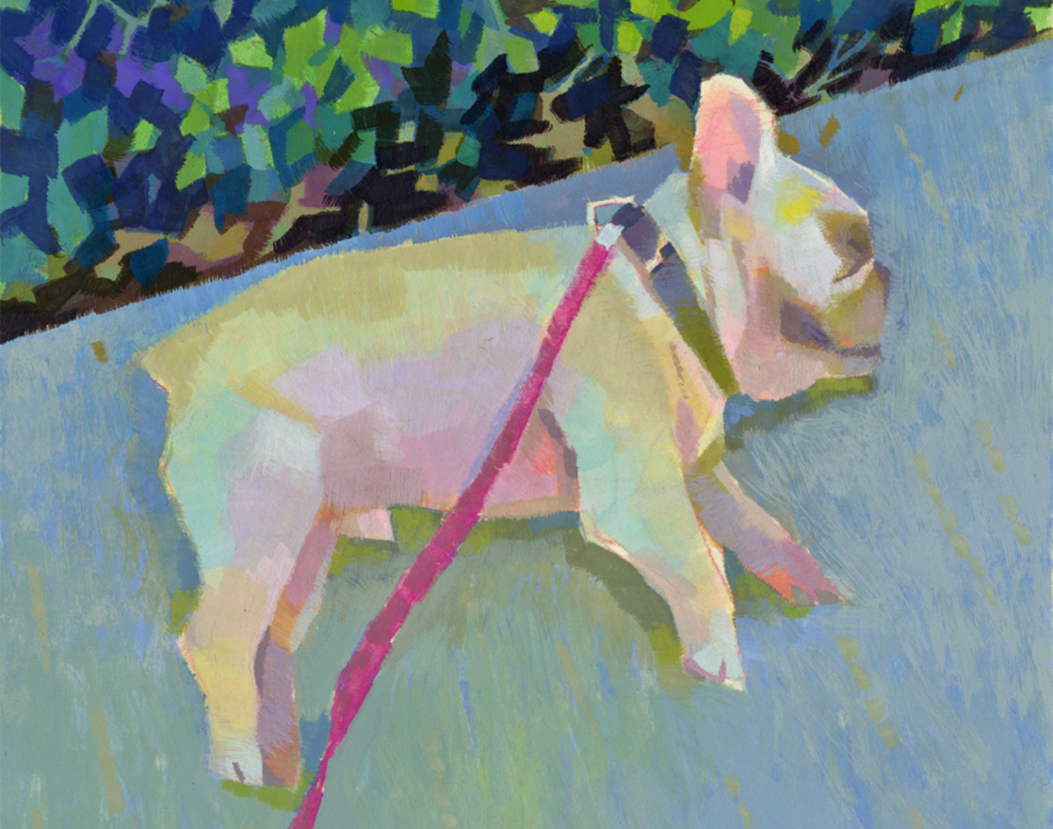 An example of Peter's plein air style, featuring his dog Henry.
