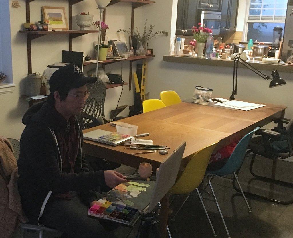 Peter working in his home studio.