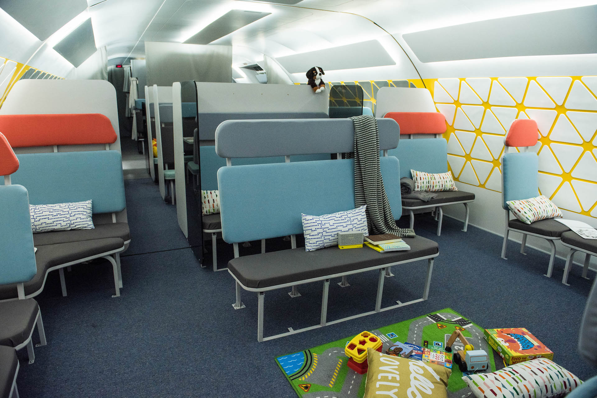 Inside one of the modules of the life size mockup. This is the family cabin, which has taken design cues from train design.