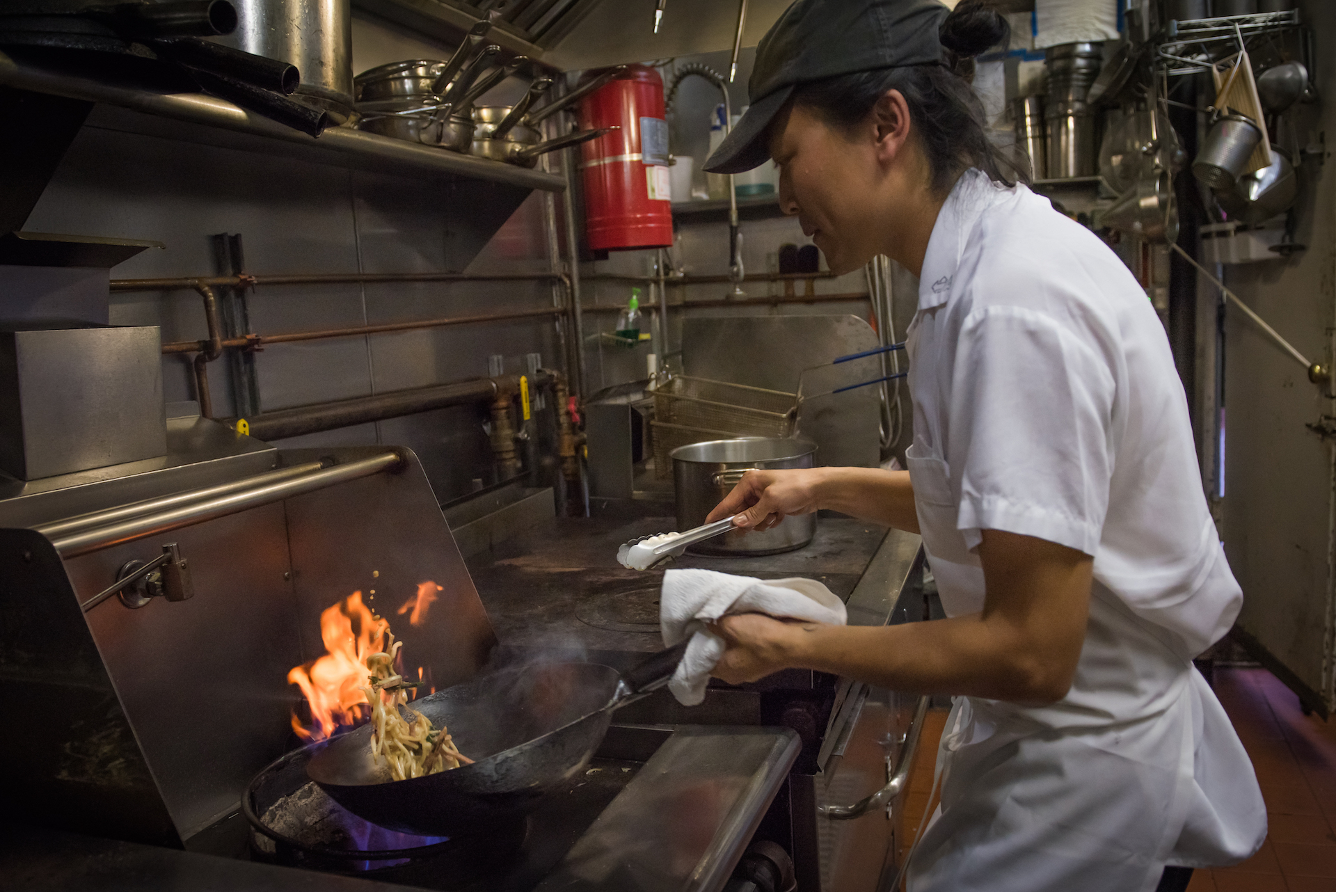 Jonathan and his staff work in a small kitchen in the back. When the wok is fired the heat of the kitchen jumps up 10 degrees.