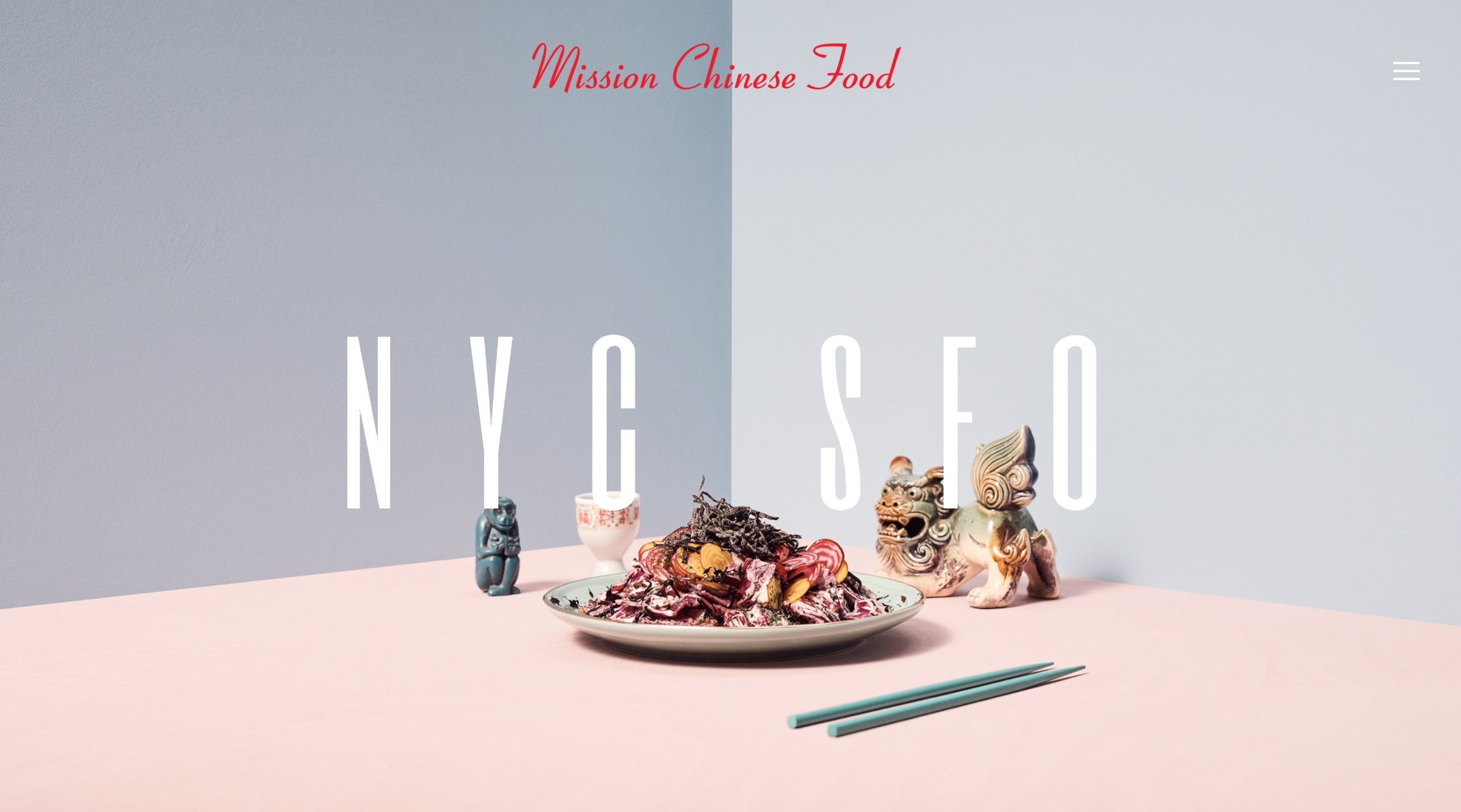 Mission Chinese Food's custom website was designed to be part of Squarespace's ad campaign.