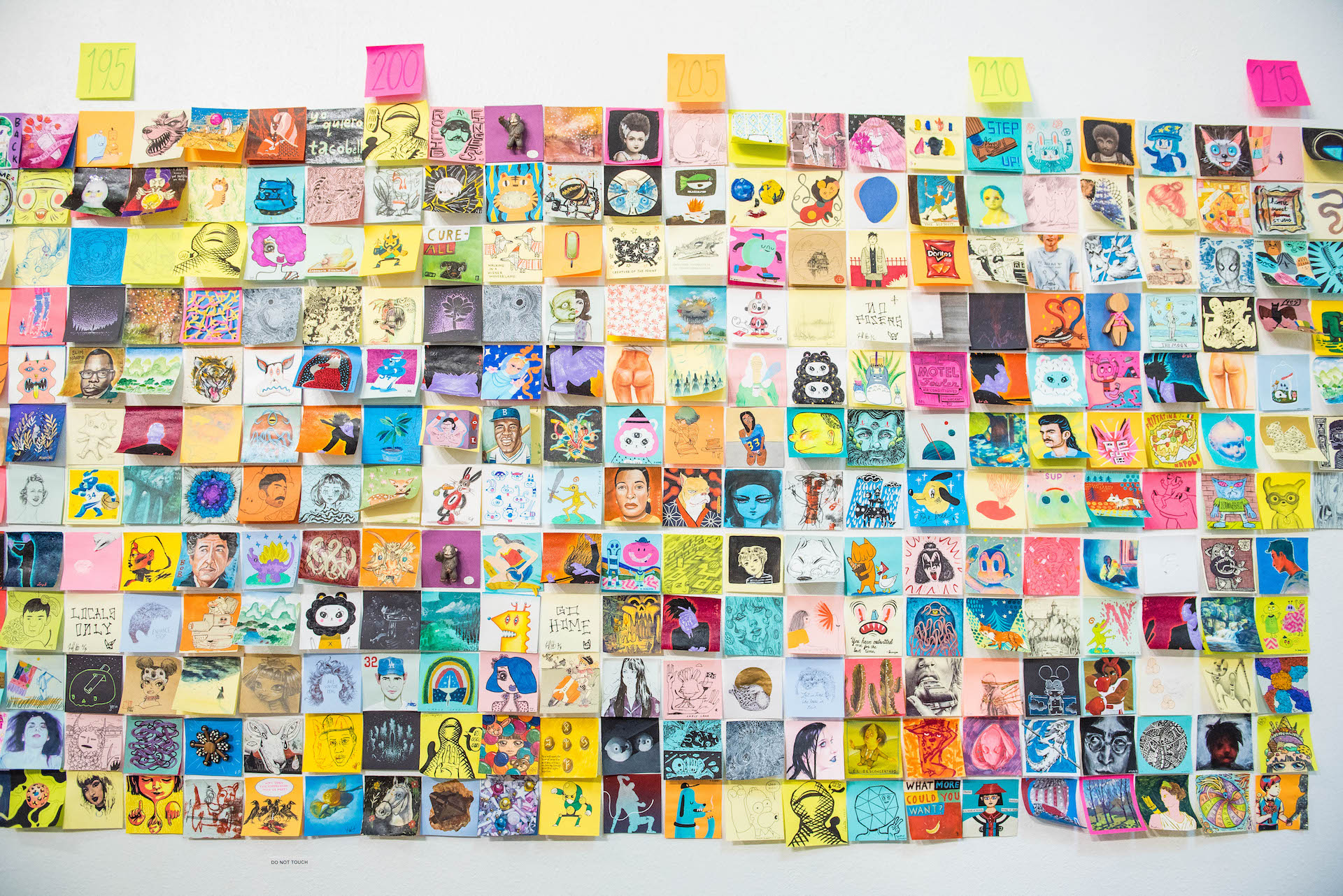 """A """"few"""" post-its from the 13th annual Post-It Show at Giant Robot 2."""