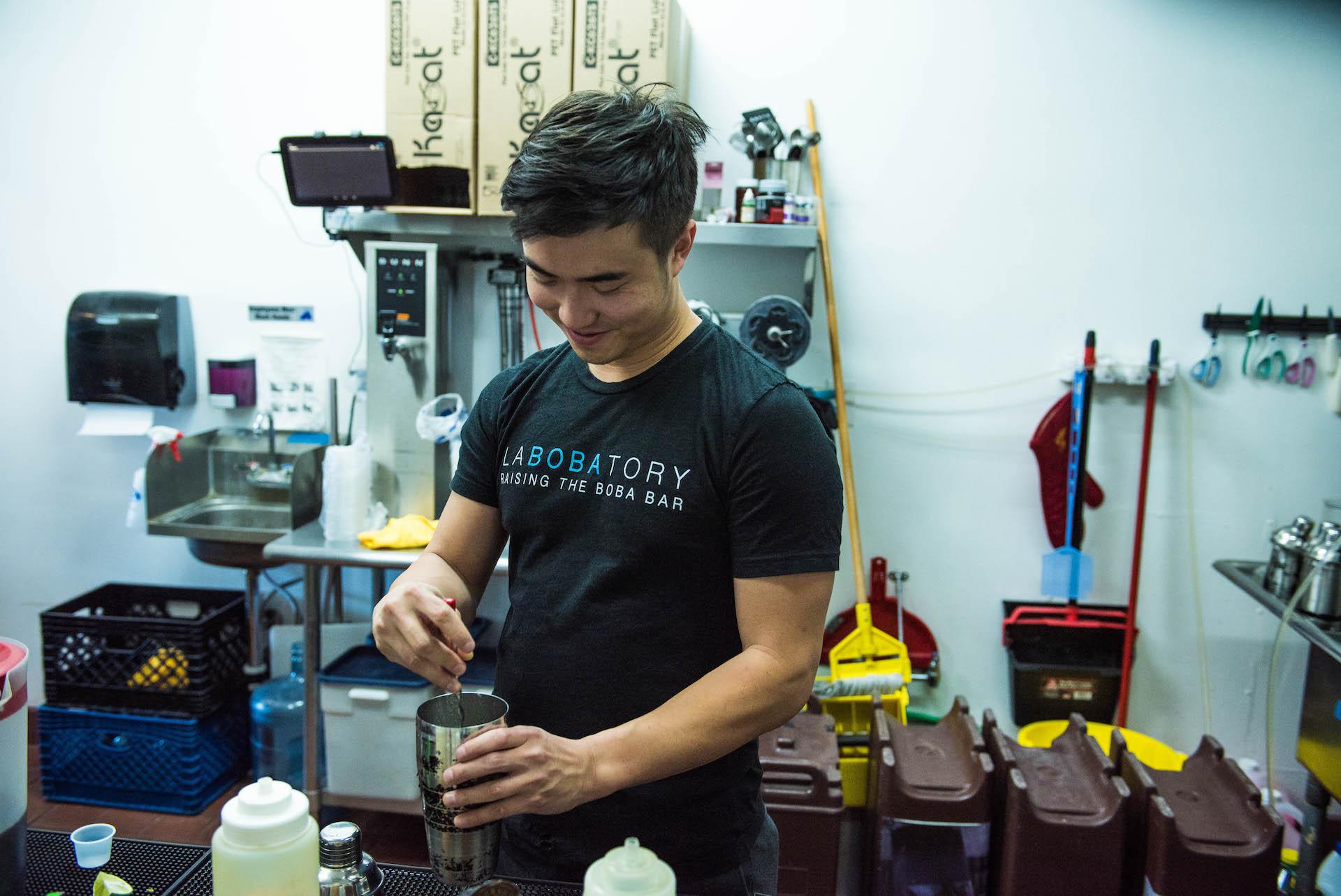 Keung prepares a #KittoKatto, a white chocolate matcha milk latte, in the Labobatory kitchen.