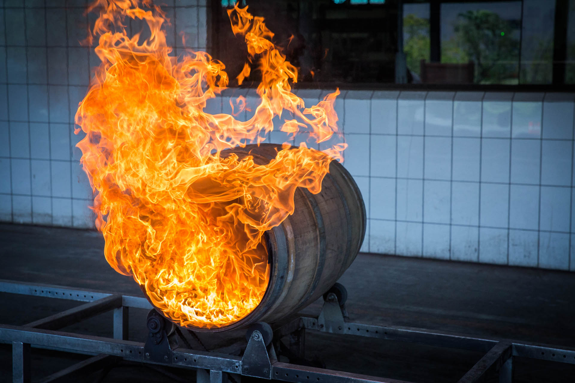 Wine barrels were charred to develop a deep smoky, cherry, and grape flavor.