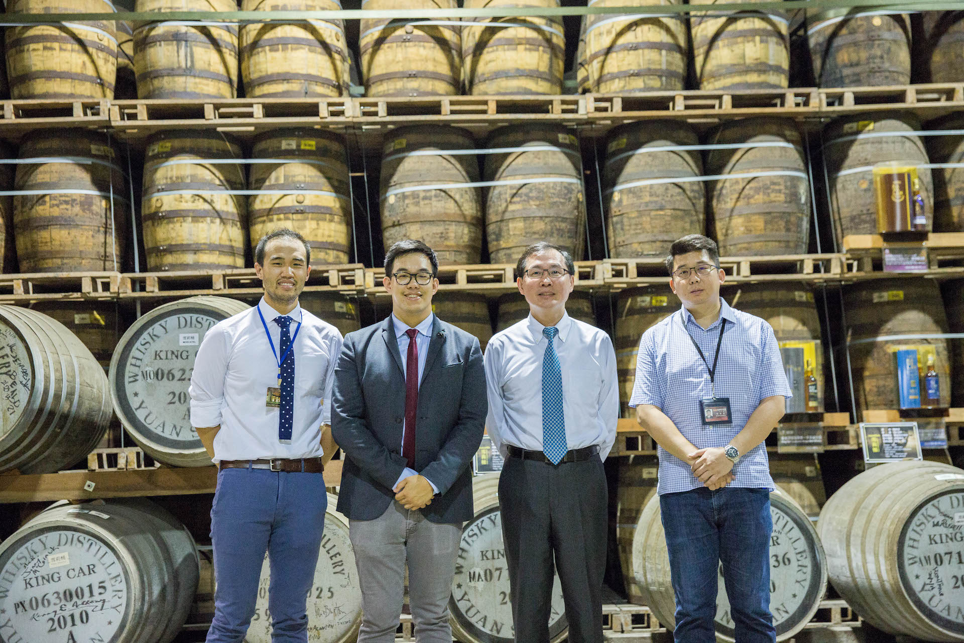 That classic Asian press photo, featuring Ian Chang (right), Kavalan CEO Albert Lee (second to right), GRM CEO George Ko (second to left), and Product Manager of Kobot Ted Ko (left).