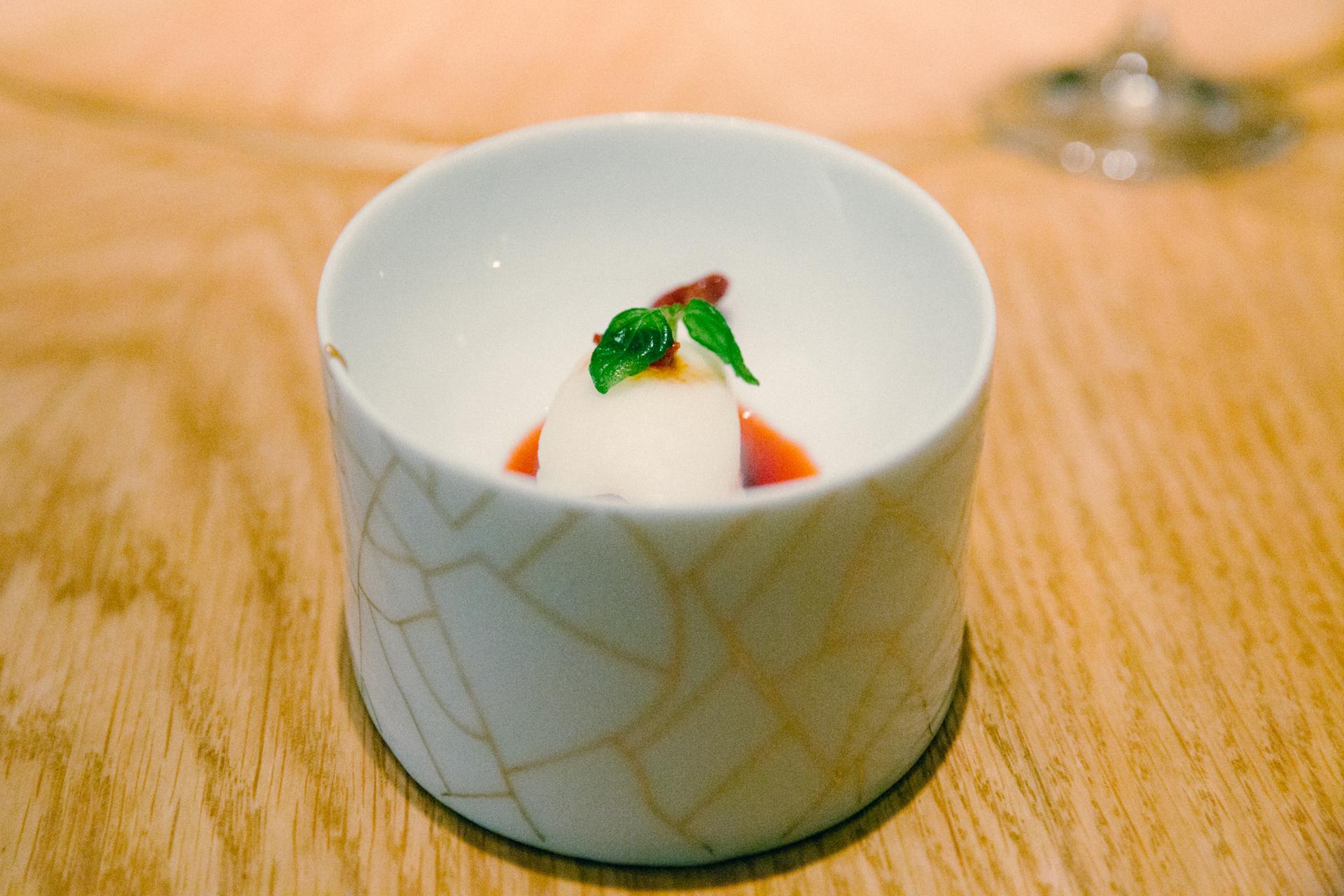 Fermented Rice Sorbet with Goji Berry Vinegar