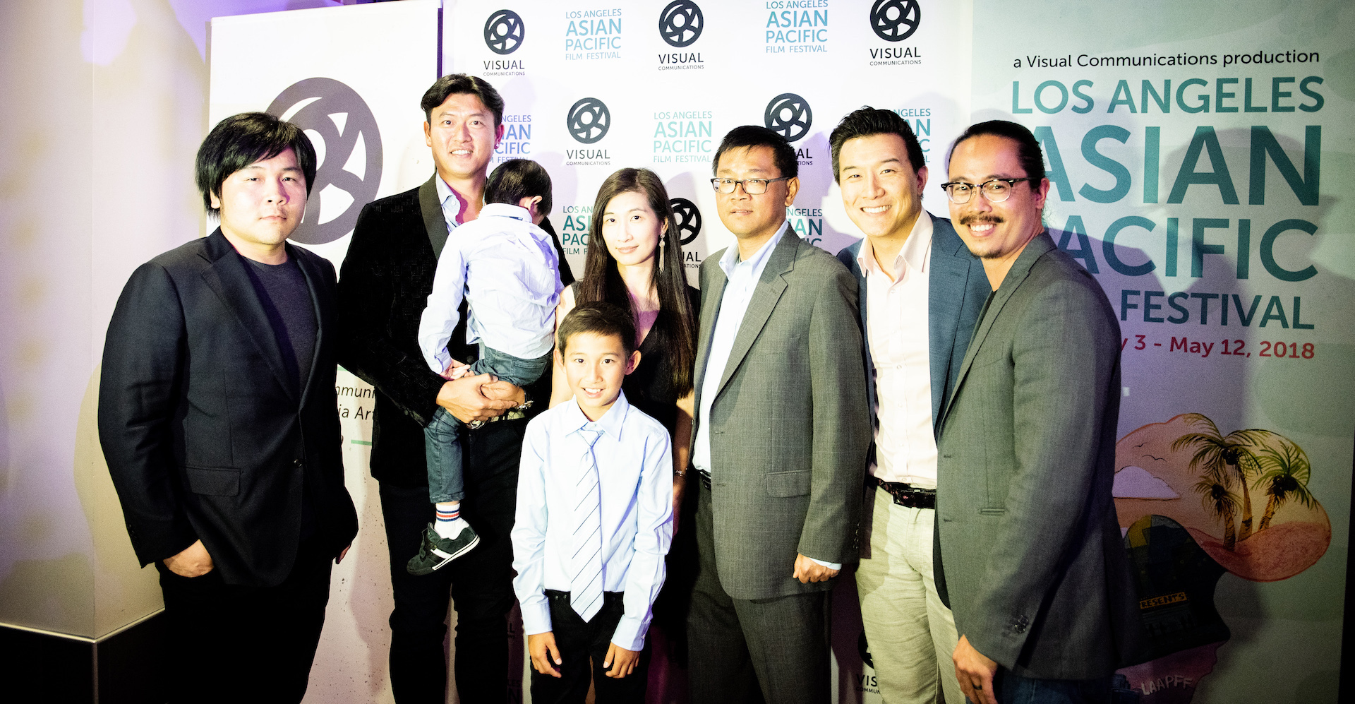 Dir. Frank W. Chen (left) with Chien-Ming Wang and his family, and his agent Alan Chang (second to the right) and producer Brian Yang (right).