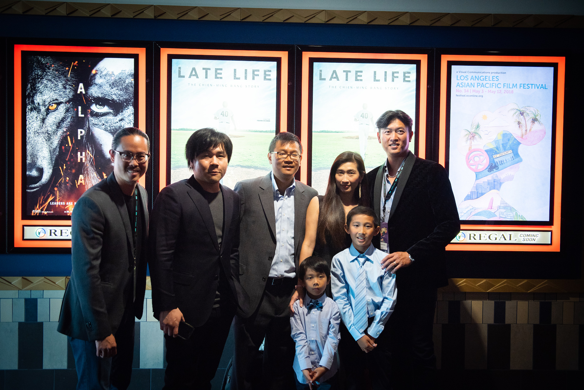 Cinematographer Hai-Tao Wu (left) with Frank W. Chen, and Alan Chang, and Chien-Ming and his family.