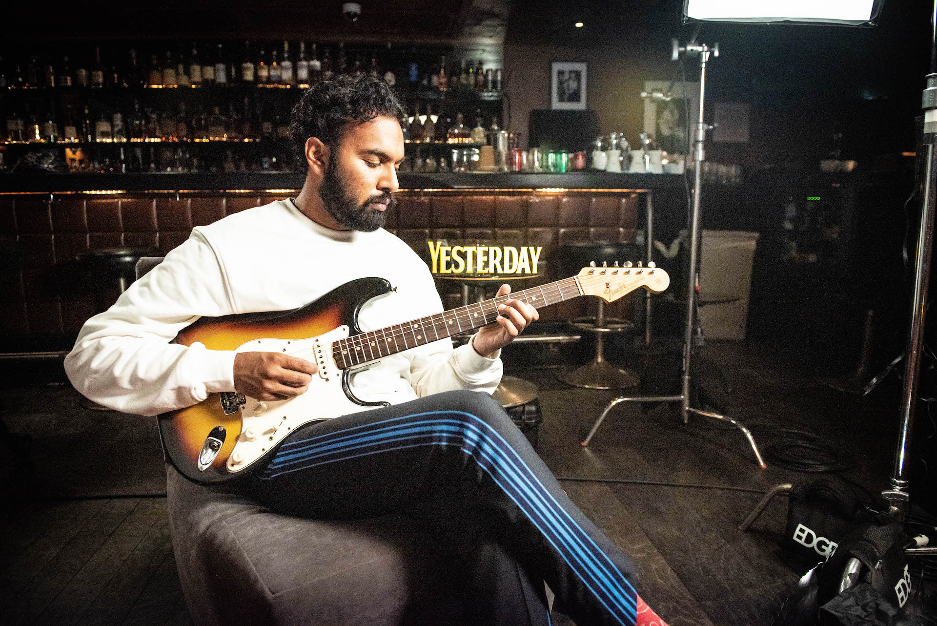 Himesh Patel, the lead in Yesterday, playing a 1965 Fender Stratocaster.