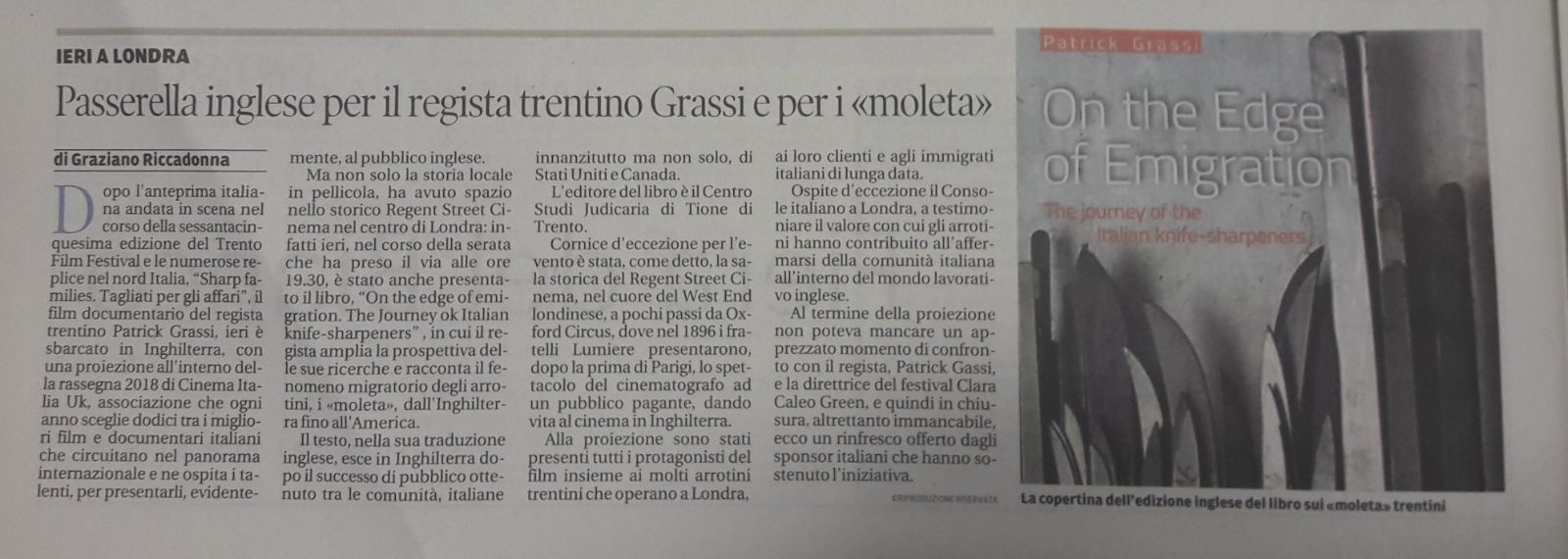 Il Trentino, 17 gennaio 2018                           Di Graziano Riccadonna