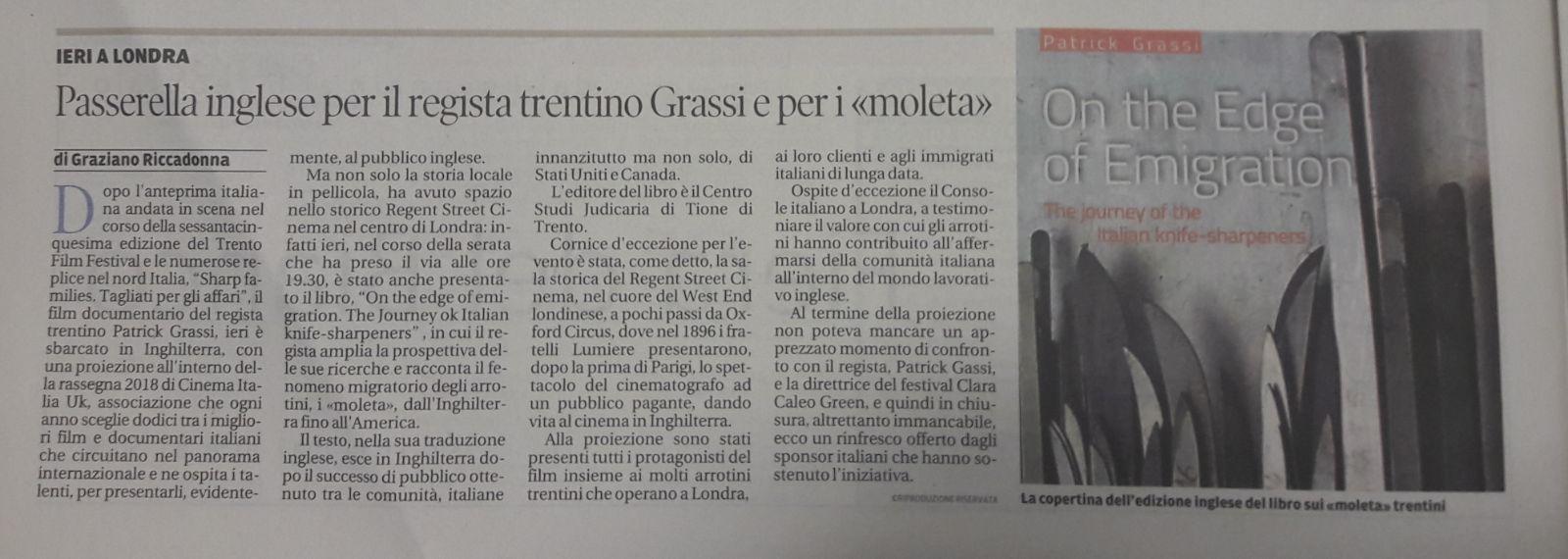 Il Trentino - 17 gennaio 2018 - di Graziano Riccadonna