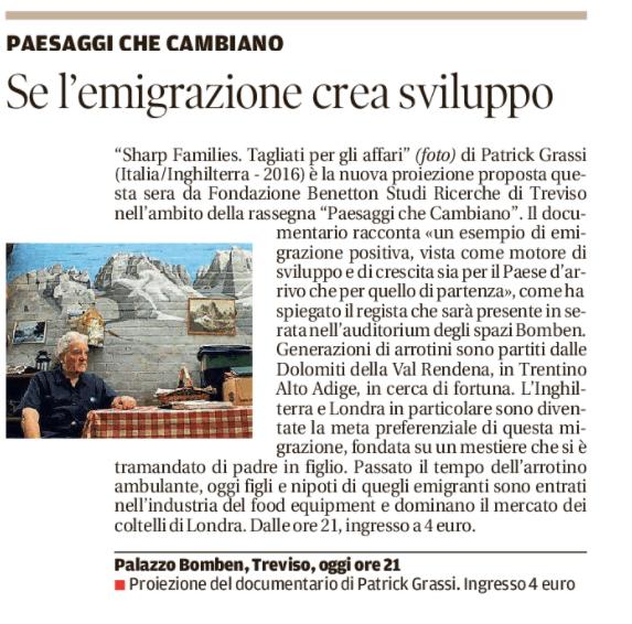 La Tribuna di Treviso - 8 novembre 2017
