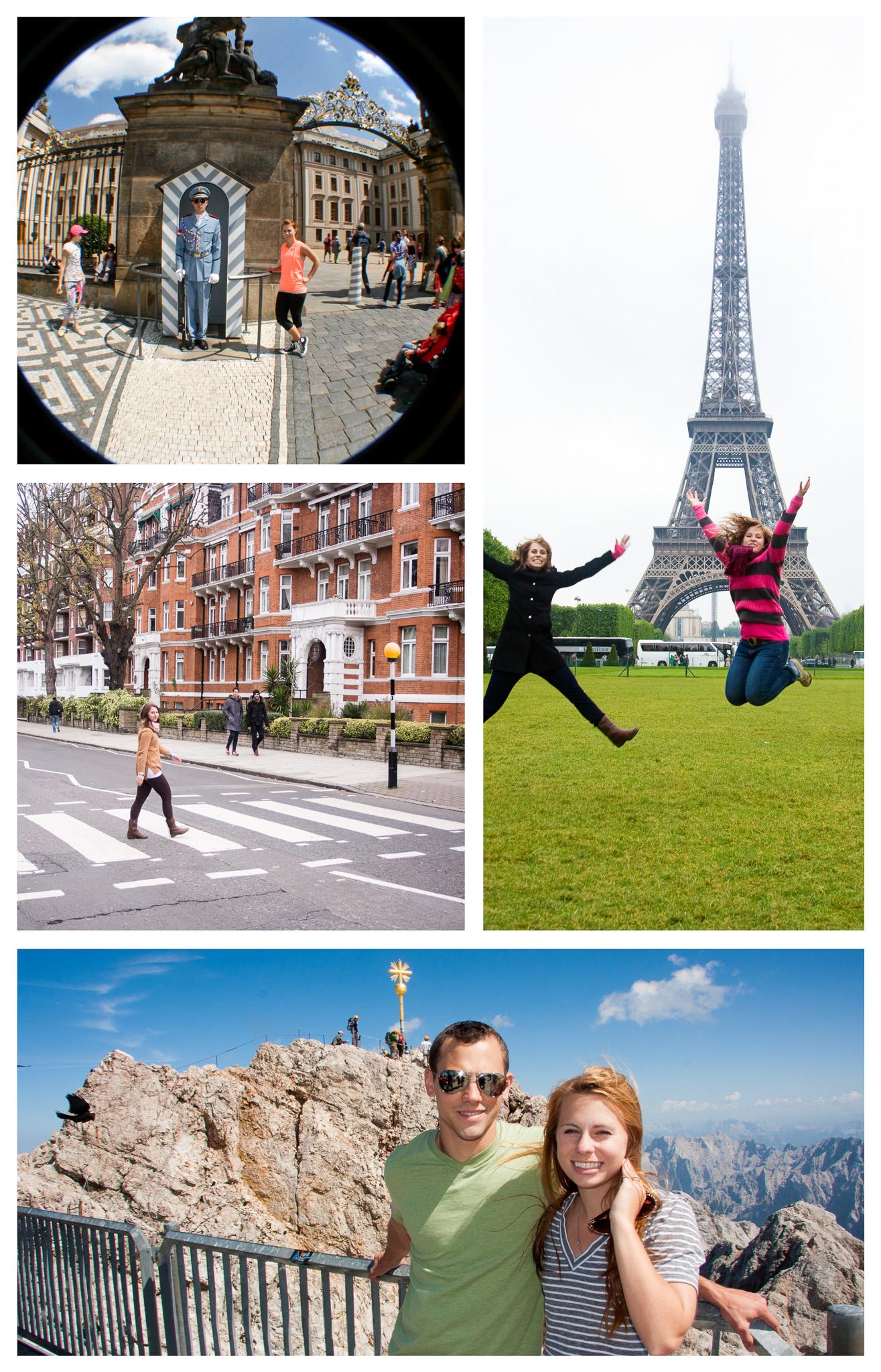 Clockwise: New Palace in Prague, Czech Republic; Eiffel Tower in Paris, France; Zugspitze, Garmisch-Partenkirchen, Germany; Abbey Road, London, England
