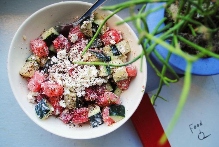 Cucumber Watermelon Feta Salad