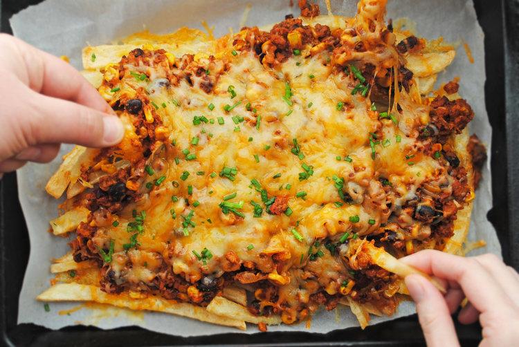 Vegetarian Chili Cheese Fries
